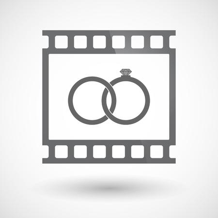 bonded: Illustration of an isolated 35mm film frame slide photogram  with  two bonded wedding rings Illustration