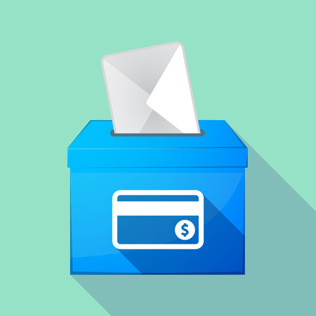 elect: Illustration of a long shadow ballot box with  a credit card Illustration
