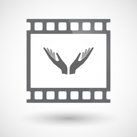 Illustration of an isolated 35mm film frame slide photogram with two hands offering