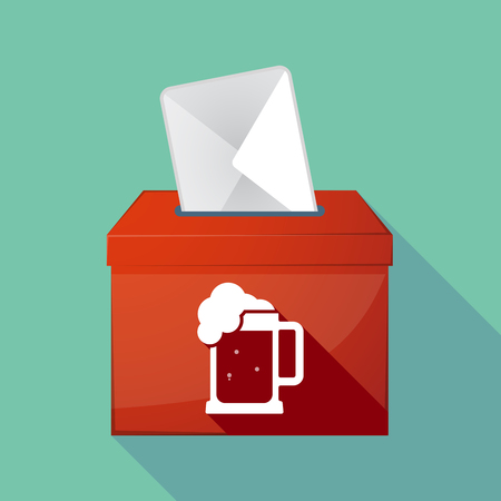 tarro cerveza: Illustration of a long shadow ballot box with  a beer jar icon