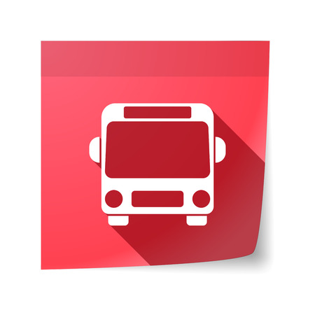 sticky note: Illustration of an isolated sticky note with  a bus icon