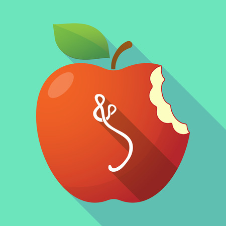 Illustration of a long shadow healthy fresh food red apple fruit icon with  an ebola sign