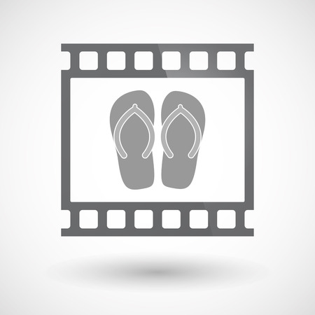 thongs: Illustration of an isolated 35mm film frame slide photogram  with   a pair of flops Illustration