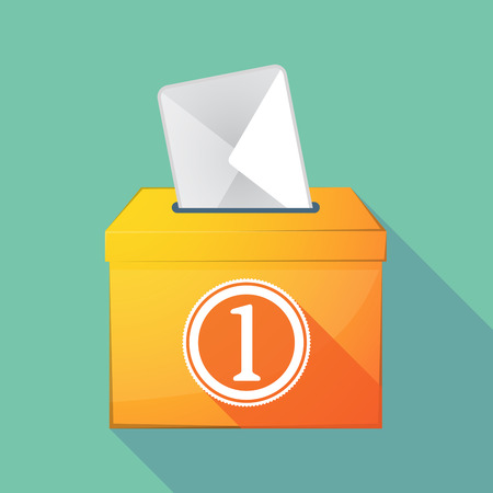 elect: Illustration of a long shadow ballot box with  a coin icon