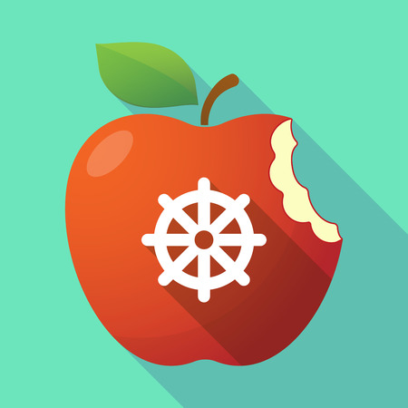 Illustration of a long shadow healthy fresh food red apple fruit icon with a dharma chakra sign Illustration