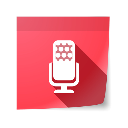sticky note: Illustration of an isolated sticky note with  a microphone sign