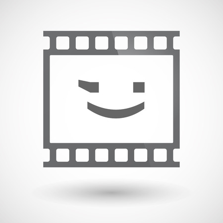 wink: Illustration of an isolated 35mm film frame slide photogram  with  a wink text face emoticon