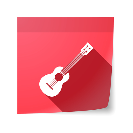 sticky note: Illustration of an isolated sticky note with  an ukulele