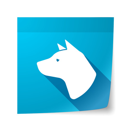 sticky note: Illustration of an isolated sticky note with  a dog head