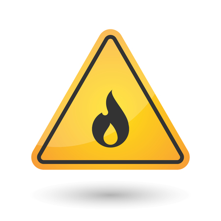 flammable warning: Illustration of an isolated danger signal icon with a flame