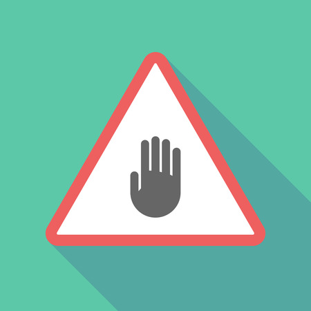 Illustration of a long shadow  triangular warning sign icon with a hand Illustration