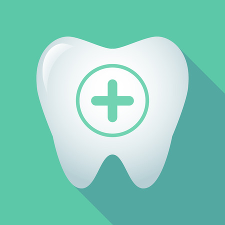 subtract: Illustration of a long shadow tooth icon with a sum sign