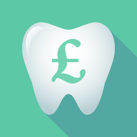 uk money: Illustration of a long shadow tooth icon with a pound sign