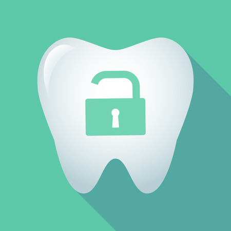 Illustration of a long shadow tooth icon with an open lock pad Illustration
