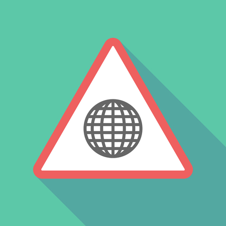 Illustration of a long shadow  triangular warning sign icon with a world globe Illustration