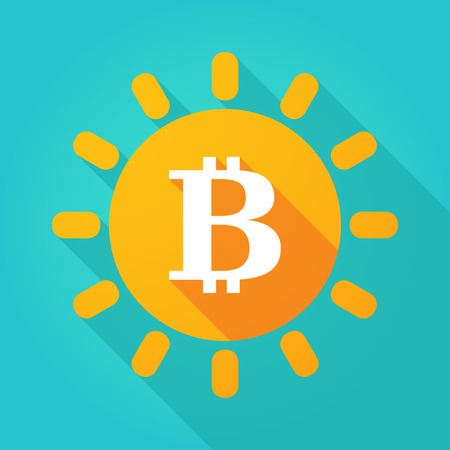 Illustration of a long shadow  bright sun icon with a bit coin sign Illustration