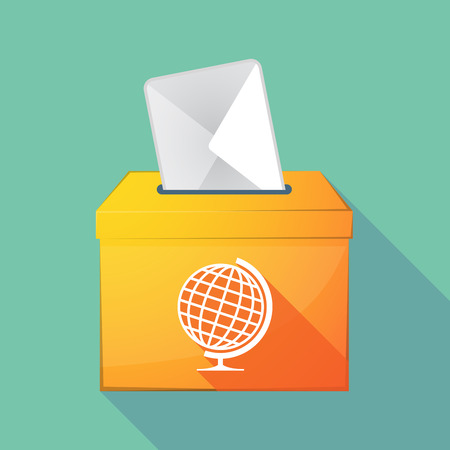 elect: Illustration of a long shadow coloured ballot box icon with  a table world globe