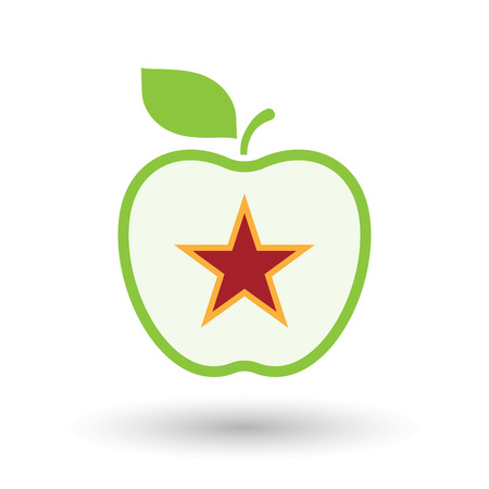 Illustration of an isolated line art healthy apple fruit vector icon with  the red star of communism icon Illustration