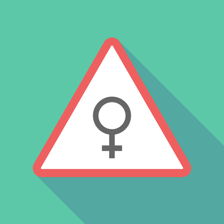 sex traffic: Illustration of a long shadow  triangular warning sign icon with a female sign