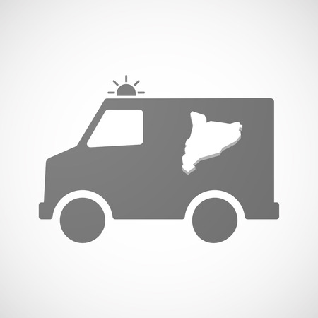 catalonia: Illustration of an isolated ambulance furgon vector icon with  the map of Catalonia Illustration