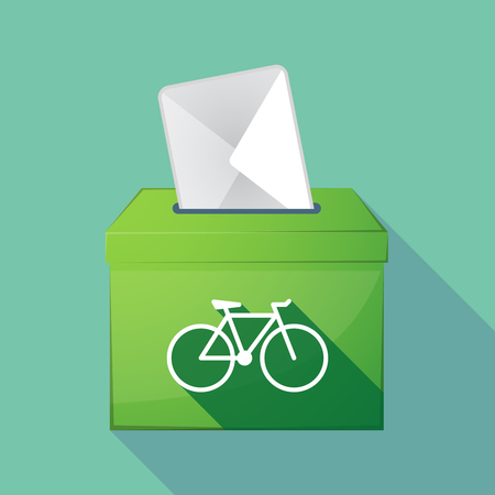 elect: Illustration of a long shadow coloured ballot box icon with a bicycle