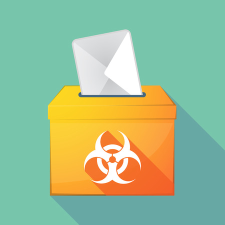 Illustration of a long shadow coloured ballot box icon with a biohazard sign Illustration