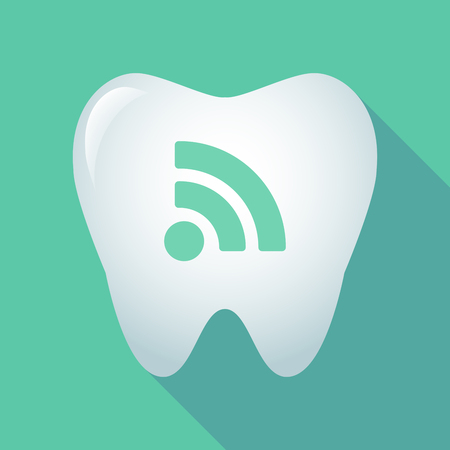 really simple syndication: Illustration of a long shadow tooth icon with an RSS sign