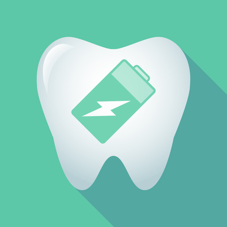 lithium: Illustration of a long shadow tooth icon with a battery Illustration