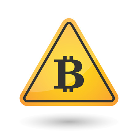 yellow beware: Illustration of an isolated danger signal icon with a bit coin sign