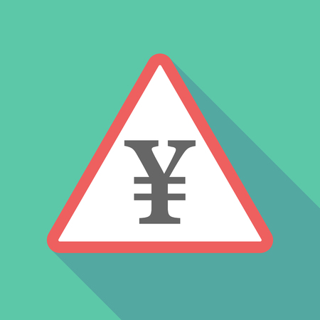 yuan: Illustration of a long shadow  triangular warning sign icon with a yen sign