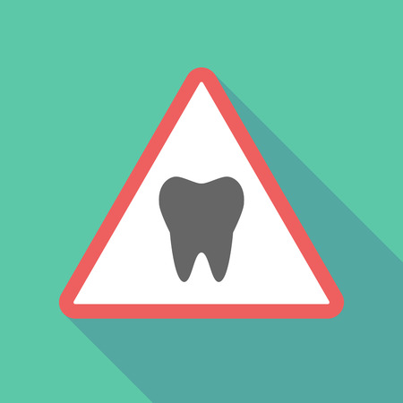 Illustration of a long shadow  triangular warning sign icon with a tooth