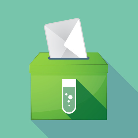 Illustration of a long shadow coloured ballot box icon with a chemical test tube