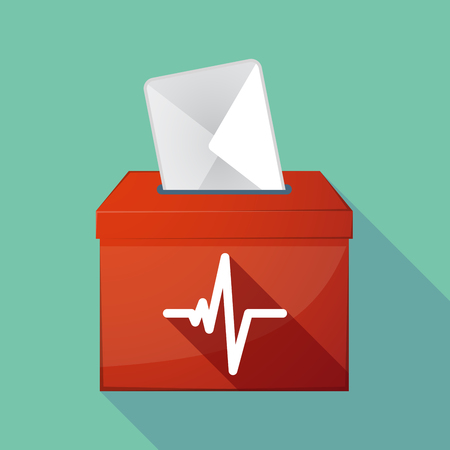 elect: Illustration of a long shadow coloured ballot box icon with a heart beat sign