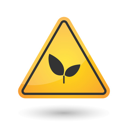 Illustration of an isolated danger signal icon with a plant