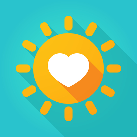 Illustration of a long shadow  bright sun icon with a heart
