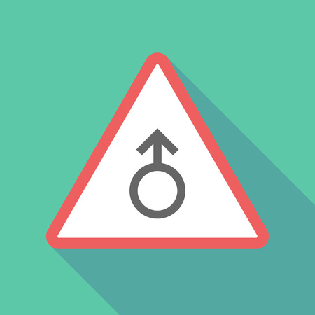 sex traffic: Illustration of a long shadow  triangular warning sign icon with a male sign Illustration