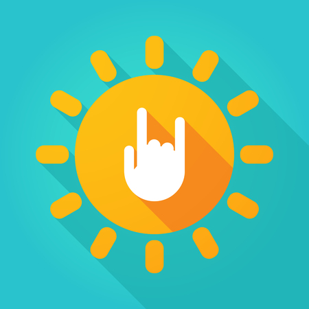 Illustration of a long shadow  bright sun icon with a rocking hand Illustration