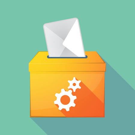 elect: Illustration of a long shadow coloured ballot box icon with two gears Illustration