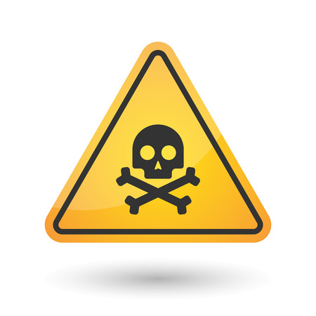 Illustration of an isolated danger signal icon with a skull