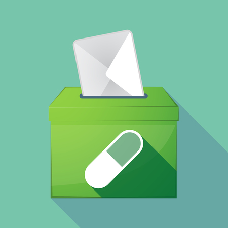 medical decisions: Illustration of a long shadow coloured ballot box icon with a pill Illustration