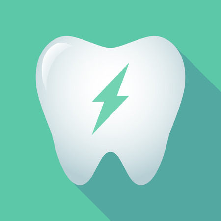 Illustration of a long shadow tooth icon with a lightning Illustration