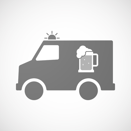 tarro cerveza: Illustration of an isolated ambulance furgon vector icon with  a beer jar icon