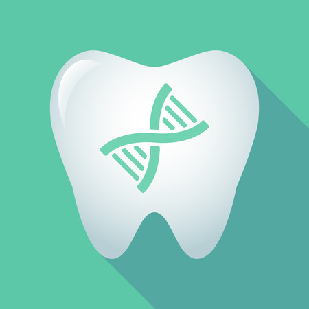Illustration of a long shadow tooth icon with a DNA sign