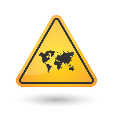 hazard damage: Illustration of an isolated danger signal icon with a world map Illustration