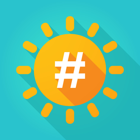 hash: Illustration of a long shadow  bright sun icon with a hash tag
