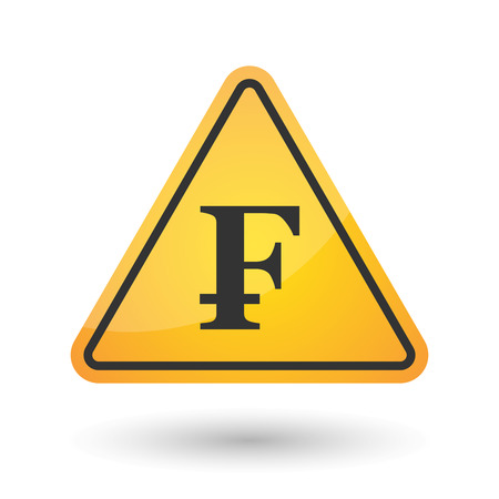 Illustration of an isolated danger signal icon with a swiss franc sign Illustration