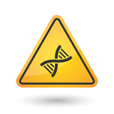 Illustration of an isolated danger signal icon with a DNA sign