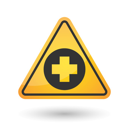 alerts: Illustration of an isolated danger signal icon with a round pharmacy sign