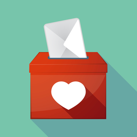seduce: Illustration of a long shadow coloured ballot box icon with a heart