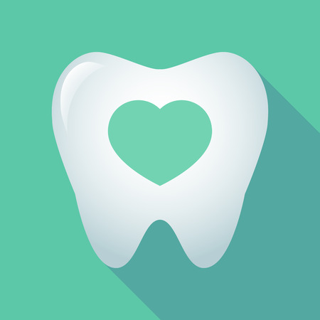 Illustration of a long shadow tooth icon with a heart Illustration